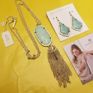 Rare Kendra Scott Amazonite Earring & Necklace Set